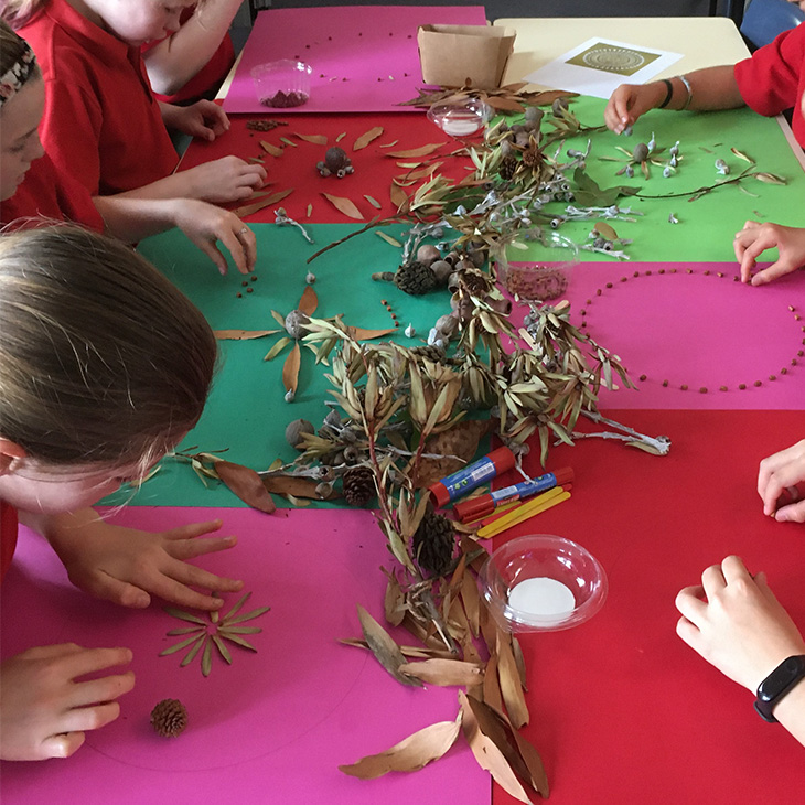 Primary school aged children working on a craft project